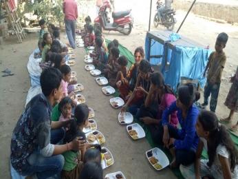 Serving Meal to slum children's_2