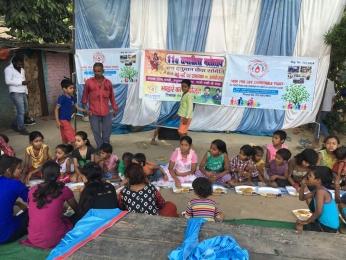 Serving Meal to slum children's_4